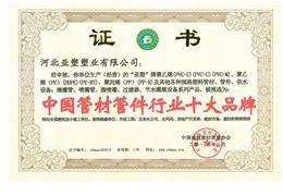 中国管材管件行业十大名牌